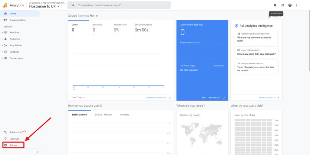 screenshot showing the admin button on google analytics