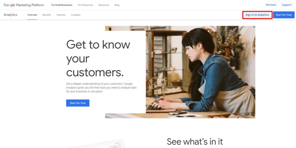 homepage screenshot of google analytics
